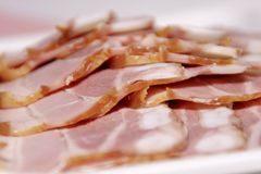 Ham. Slices of ham in a container stock photo