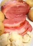 Ham, aardappels en bloemkool Royalty-vrije Stock Afbeelding