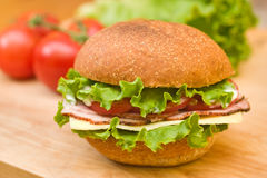 Ham & Zwitserse sandwich op een scherpe raad stock fotografie