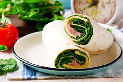 Ham And Cheese And Spinach Wrap Stock Images