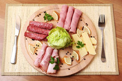 Ham And Salami Traditional Plate Stock Image