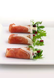 Ham with arugula,gorgonzola and cranberry Stock Image