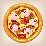 Ham and Arugula pizza vector illustration. Royalty Free Stock Image