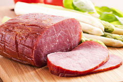 Ham with asparagus Stock Photography