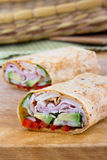 Ham and avocado sandwich wrap roll Royalty Free Stock Photo
