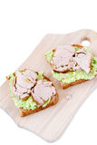 Ham and avocado toast Royalty Free Stock Image