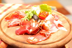Ham and bacon. Italian food, a plate with ham Royalty Free Stock Photos
