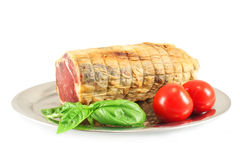 Ham, basil and tomatoes Stock Photo
