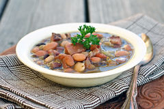 Ham and Bean Soup. Bowl of bean soup with ham Stock Image