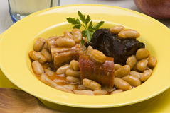 Ham and beans, Asturias style. Spanish cuisine. Fa Stock Photo