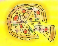 Ham And Beef Pizza Drawing Stock Image