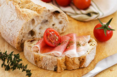 Ham with bread Stock Images