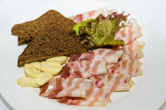 Ham bread garlic and greens. Royalty Free Stock Photography