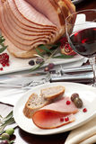 Ham, Bread, Olives, and Pomegranate Royalty Free Stock Images