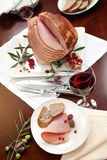Ham, Bread, Olives, and Pomegranate Stock Photography