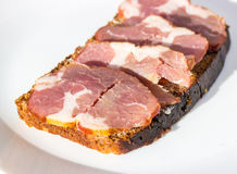 Ham with bread Royalty Free Stock Photography