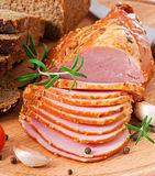 Ham, bread and spices Royalty Free Stock Photo