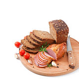Ham, bread and spices Royalty Free Stock Image
