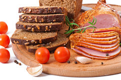 Ham, bread and spices Stock Photography