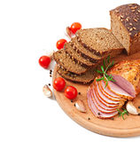 Ham, bread and spices Royalty Free Stock Photography