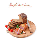 Ham, bread and spices Stock Photo