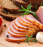 Ham, bread and spices Stock Images