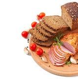 Ham, brood en kruiden royalty-vrije stock fotografie