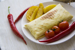 Ham burrito with hot spicy vegetables Stock Image