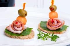 Ham canapes Stock Photography