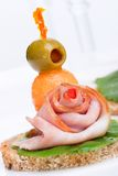 Ham canapes Stock Photography