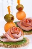 Ham canapes Stock Photos
