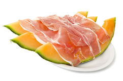 Ham and cantaloupe melon Royalty Free Stock Images