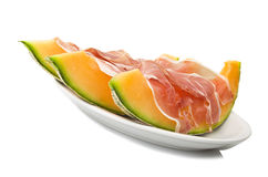 Ham and cantaloupe melon Royalty Free Stock Photos