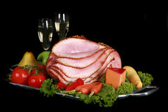 Ham and champagne on a black background Stock Photo
