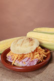 Ham and cheddar arepa Stock Images