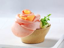 Ham and cheese appetizer Stock Images