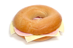 Ham and cheese bagel Royalty Free Stock Photo
