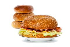 Ham and Cheese Bagel Sandwich Breakfast Royalty Free Stock Photos