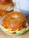 Ham and Cheese Bagel Sandwich Breakfast Royalty Free Stock Photo