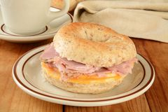 Ham and cheese bagel Stock Image