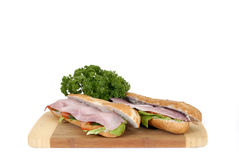 Ham and cheese baguette Stock Images