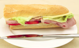 Ham and cheese baguette side view Royalty Free Stock Photo