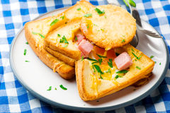 Ham and Cheese Baked Eggs in Toast. for a breakfast Stock Images
