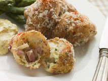 Ham and Cheese Beignets with Asparagus Royalty Free Stock Photography