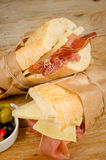 Ham and cheese bocadillo Stock Image