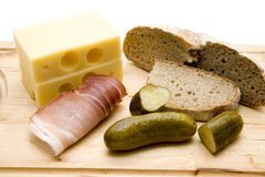 Ham with cheese and bread Stock Images