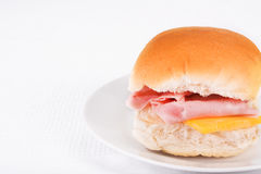Ham and cheese bread roll or bap Royalty Free Stock Photography