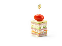 Ham, cheese, carrot and cucumber canape, studio shot stock image