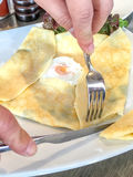 Ham Cheese Crêpe with fried egg Royalty Free Stock Photos