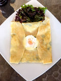 Ham Cheese Crêpe with fried egg Stock Image